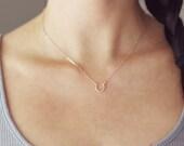 Rose Gold Horseshoe Necklace | Tiny Horseshoe Necklace | 14kt Rose Gold Filled