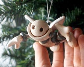 Robot Angel Gray Greg Rustic Christmas Ornament - Clay, Paint, Wire