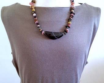 SALE...GlamRox Crescent Onyx & Tourmaline Necklace by GlamRox. Perfect Jewelry Gift. Gift for her. ETSY Gift