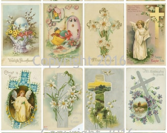 Printable Victorian Easter Cards Collage Sheet. #102 Instant Digital Download, Easter Eggs, Easter Rabbits, Bunnies, Scrapbooking