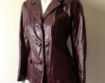 Vintage Women's 80's Leather Jacket, Oxblood, Button Up, Fully Lined by Gorgeous Leather Fashions (M)