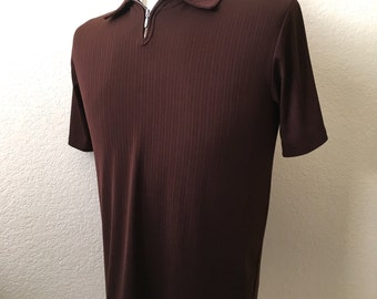Vintage Men's 70's Mod Shirt, Short Sleeve, Brown, Pull Over (M)