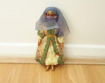 Oriental Doll With Headscarf Veiled Doll Arabian Nights Style Vintage Figurine