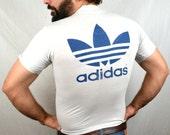 Vintage 80s Adidas Trefoil Tee Shirt Tshirt - Stroh's Run For Liberty III