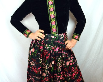 Vintage 60s 70s Floral Maxi Velvet Dress - RK Originals