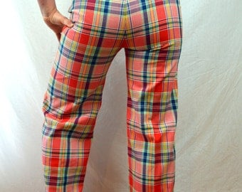 Vintage 1960s Plaid Summer Bell Bottoms Pants -- Bobbie Brooks