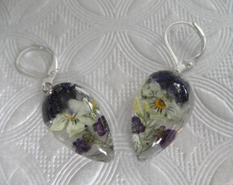 Purple & Yellow Pansies, Purple Alyssum Pressed Flower Glass Teardrop Leverback Earrings-Symbolizes Loyalty-Gifts Under 30-Nature's Art