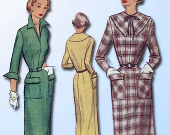 1950s Vintage McCall Sewing Pattern 8197 Misses Slender Street Dress Size 16 34B