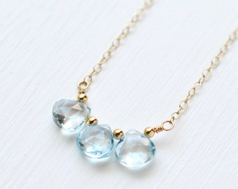Gold Fill Sky Blue Topaz Necklace / Three Stone Blue Topaz Necklace / Small Blue Gemstone Necklace / December Birthstone Jewelry
