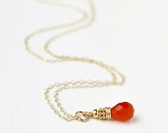 Gold Carnelian Necklace / Small Carnelian Pendant / Briolette Pendant / Stacked Beads / Orange Gemstone Jewelry / 16 Inch 18 Inch 20 inch