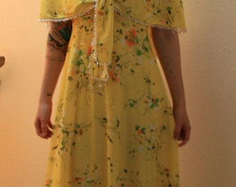 1960s yellow floral soft polyester dress with cape