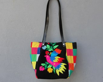 Rainbow Bird Bag - Vintage Embroidery, Patchwork and Leather Bag.