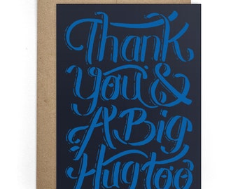 Thank You Card, Best Friend Card, Cards for Him or for Her, Modern Card for Him - Thank You Greeting Card