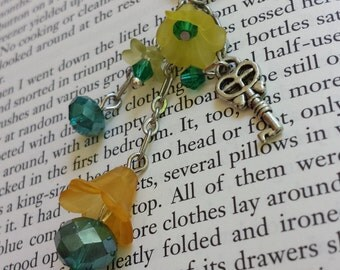 Orange & Yellow Flower Dangle Necklace with Key and Faceted Sparkling Glass Beads - Adult or Child, Fairy, Costume, Faire
