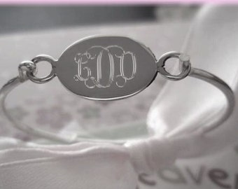 Engravable Oval Sterling Silver Child Baby Bangle, Monogrammed Bracelet, Personalized Bangle, Silver Name Initial Bracelet, First Birthday