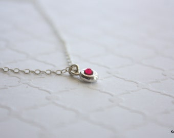 Tiny Circle Necklace, Birthstone Necklace, Crystal Necklace, Minimal Necklace, Silver Layering Necklace, Little Dot