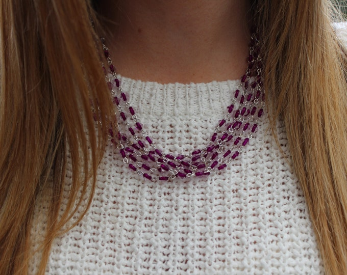 Viola, Purple Beaded Statement Necklace.