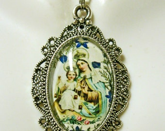 Our Lady of Mount Carmel pendant with chain - AP04-151