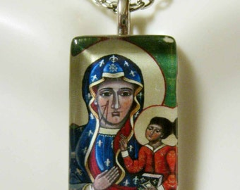 Black Madonna pendant with chain - GP09-144