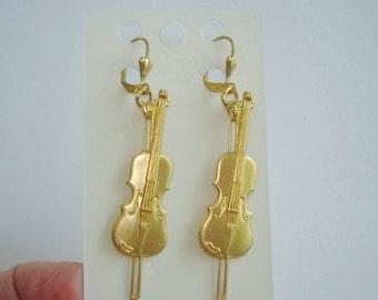 Music Violin Gold Tone  Dangle Earrings KL Design