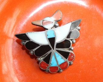 Zuni Inlay Brooch Pendant Old Pawn Bird Eagle  Sterling Silver Native American VINTAGE by Plantdreaming