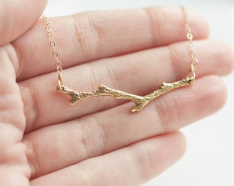 Gold Everyday Necklace - Gold Twig - Branch Necklace - Layering Necklace - Twig Necklace - Minimalist Jewelry
