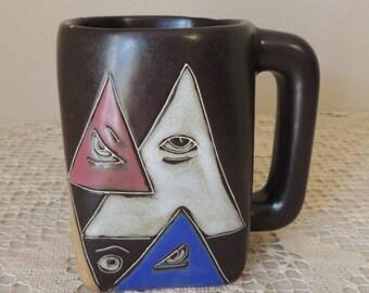 "Unusual Ceramic Hand Crafted Eye Mug. All Seeing Eye Large Iron Stone Cup. ""I Have My Eye on You"" Office or School Desk Decor Mug"