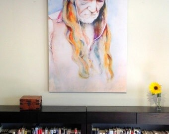 Art Willie Nelson LARGE portrait 48 X 36 inches canvas or paper watercolor painting--Country, ART, Custom watercolor portrait