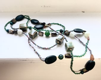 """Necklace - Beaded Greens - Nineties Vibe - Boho - Long - Wrap it - """"Running With the Wolves"""""""