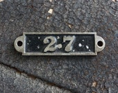 Salvaged Postal Door Number Sign Plate Number No 27