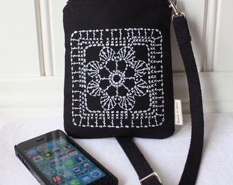 small zipper bag for mobile phone, with handprinted lace pattern, black