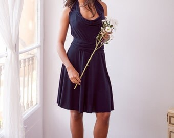 Navy Bridesmaid Dress, Navy Blue wrap dress, long sleeve dress, long sleeve bridesmaid dress, blue bridesmaid dress, short bridesmaid dress