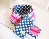 Ruffled Fabric Camera Strap Cover - Navy Polka Dot with Pink Ruffle