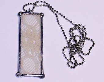 Lace Soldered Pendant, Vintage Lace Pendant, Vintage Cream Lace Necklace, Cream Lace Necklace