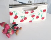 Retro Clutch Purse in White Patent with Cherries -- Hand Painted -- Voodude Atomics