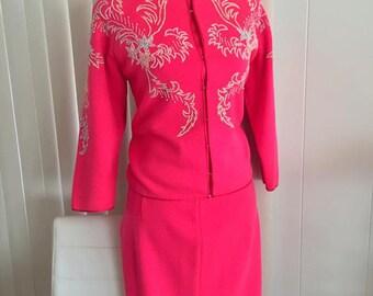 Sale Ohh La La Fabulous Vintage 50's - 60's Three Piece Wool Knit Set in Hot Pink - Size M