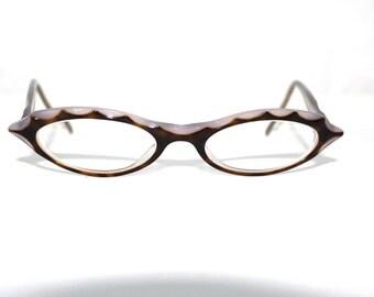Jean La Font Cats Eye Oval Eyeglasses Women's Vintage Designer Frames Paris France Lolita  48 17 142