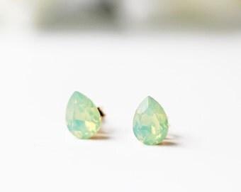Mint Opalescent Pear Shape Swarovski Studs Chrysolite Opal Crystal Dainty Everyday Earrings