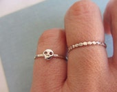 Simple tiny sterling silver skull ring, sterling silver stacking ring, hammered band ring