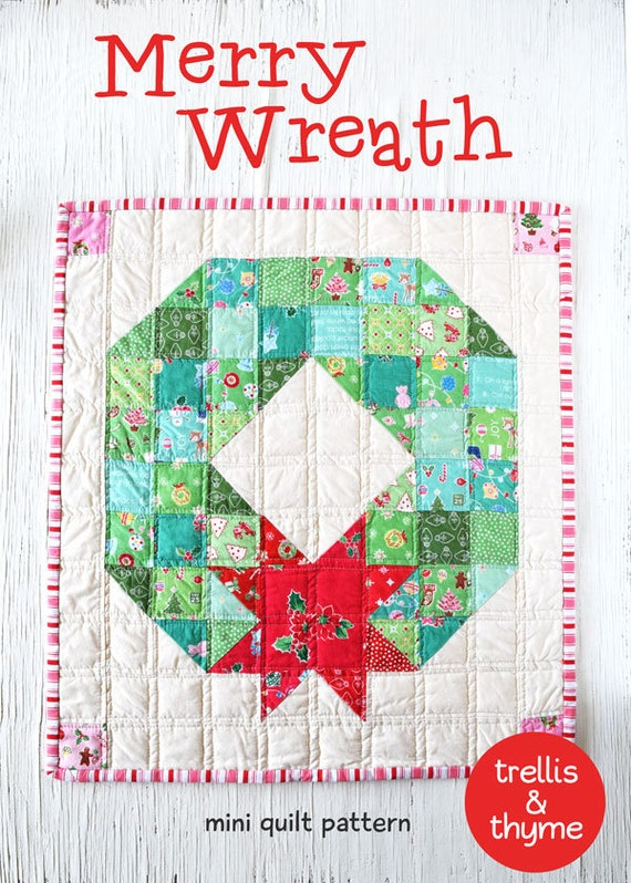 Quilt Pattern For Christmas Wreath : PDF Pattern Merry Wreath Mini Quilt Pattern Christmas Mini