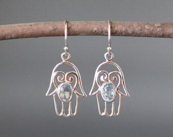 Silver Hamsa Earrings - Blue Topaz Earrings - Bali Silver Earrings - Blue Gemstone Earrings - Hamsa Jewelry - December Birthstone - Judaica