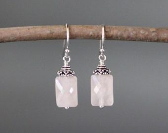 Rose Quartz Earrings - Bali Silver Earrings - Wire Wrapped Earrings Silver - Rose Quartz Jewelry - Pink Gemstone Earrings - Gift for Her