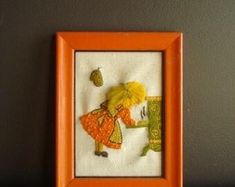 Orange Framed Girl  - Vintage Crewel Baking Mini Art for Your Wall