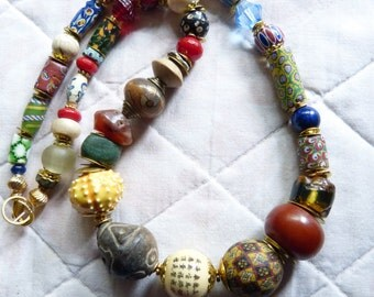 African Ethnic Tribal necklace, Antique Venetian Millefiori beads and other antique African Trade Beads  , OOAK, Statement Necklace
