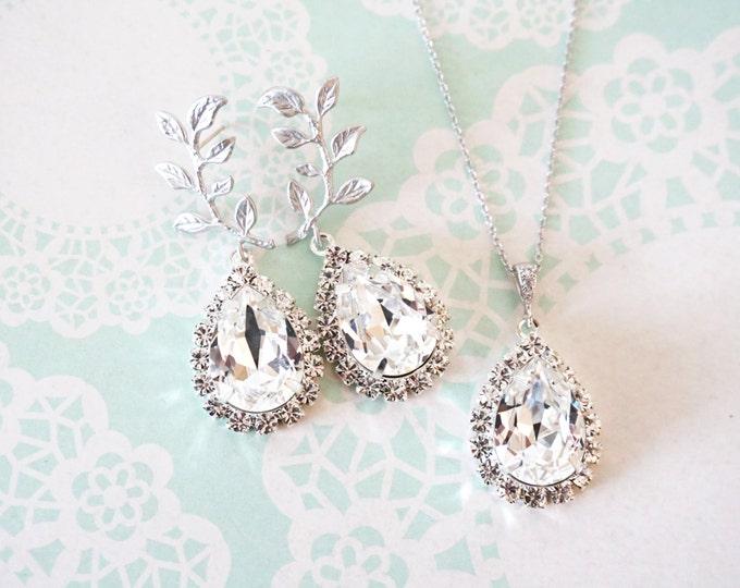 Tina Luxe - Silver Leaf Swarovski Teardrop Crystal Earrings Necklace Set, Bridesmaid earrings Bridal Jewelry, woodland fairy white weddings