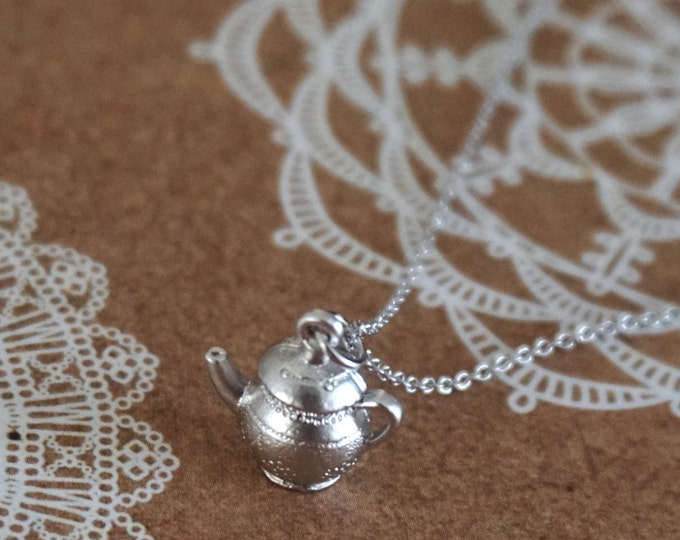 Silver Tea pot Necklace / Alice in wonderland, garden wedding, bridesmaid bridal shower necklace, gifts for her, Fairy Tale, Under USD15