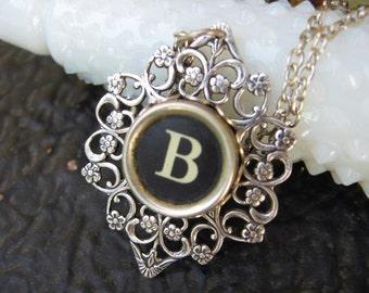 Typewriter Key - Initial B - Typewriter key Jewelry - Typewriter Necklace