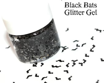 HALLOWEEN Black Bats GLITTER GEL for Face, Body, and Hair