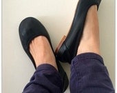 EMMA - Ballet Flats - Black Leather shoes- 39 -Available in different sizes