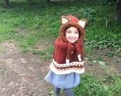 Fox Hooded Poncho Size 1 -2, Knit Fox Poncho Size 3-4, Fox Poncho Wool-Blend Size 5 -6, Fox Cape Size 7 - 8, Halloween Costume Fox Poncho